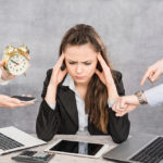 Overwhelmed business woman